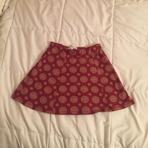 Deep Red and Light Yellow Pattered A-line Skirt